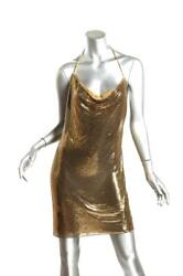 Balmain Womens Gold Chainmail Halter Neck Low Back Mini Dress Us6 Fr38 Sold Out