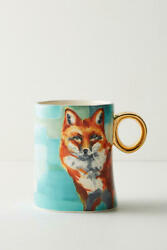 Anthropologie Lauren Carlson Walcott Fox Mug Set Of 6