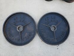Vintage International Canada Deep Dish Olympic Weights 45lb Weight Plates Rare