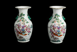 China 19. Jh A Pair Antique Chinese Export Famille Rose Porcelain Vases