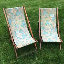 Vintage Wood adjustable Deck Chair Green floral fabric Beach Sling Lawn $158.40
