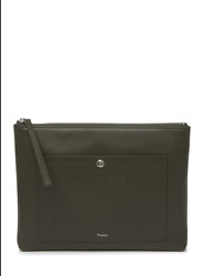 New Theory Olive Leather Fatigue Zip Pouch Clutch Bag Wallet Purse $180 $49.00