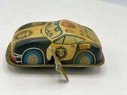 Rare Small Japan Tin Wind-up Police Car 3 Cool Little Piece Works