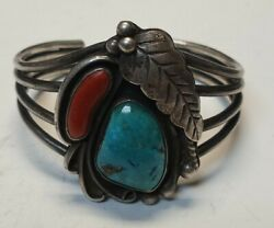 Vintage Roy Vandeverturquoise And Coral Inlayed Sterling Sliver Cuff Braclett