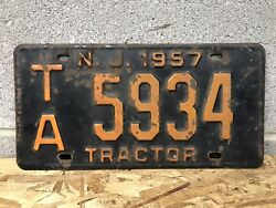 1957 New Jersey Tractor License Plate Vintage Farm Tag Ta 5934