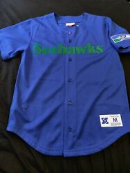 Vintage Mitchell And Ness Seattle Seahawks Baseball Jersey Men's Sz Med