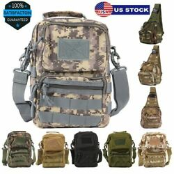 Tactical Military Crossbody Shoulder Bag Chest Pack Camping Hiking Backpack Mens $15.99