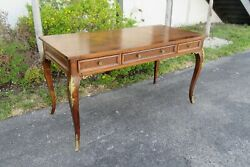 French Inlay Burl Wood Brass Accent Desk By Jb Van Sciver Co 2048