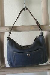 COACH F10890 CHELSEA DISTRESSED BLUE PEBBLE LEATHER BROWN STRAP SMALL HOBO $15.00