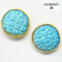 Nyjewel Gurhan 24k Yellow Gold Craved Turquoise Clip On Earrings