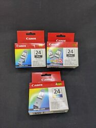 Lot Of 4 Canon Bci-24 Black And Tri-color Ink Cartridge - Genuine Sealed Box