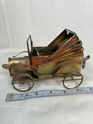 Vintage Copper Tin Metal Art Music Box Antique Car Plays Happy Days 5.5 In Long