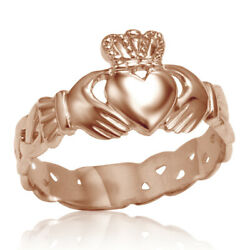 Ladies Solid 10k Rose Gold Claddagh Ring With Trinity Band
