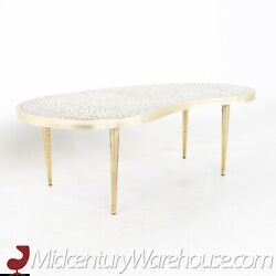 Martz Style Mid Century Mosaic And Brass Kidney Coffee Table - Vintage Mcm