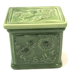 Green Salt Box With Lid Nd Exclusive With Rooster Motif Farm House