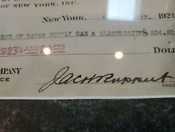 Jacob Ruppert Signed Check From 1925. Made Out To Dept.of Water Supply