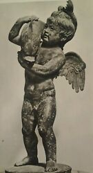 Postcard Rppc Naples Italy Early 1900s Rare Cupid Dolphin Bronze National Museum