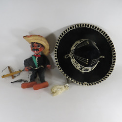 Vintage 1960s Mexican Marionette And Kids Sombrero Hat Paris 1900 Roma 1898