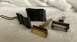 Antique 1 Brass and 1 Silver Valet Safety Razors With Strop Very Nice