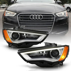 [pair] For 2015-16 Audi A3 Xenon Hid Model Led Drl Projector Headlight Lamp L+r