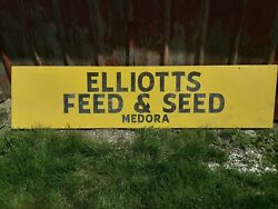 Vintage Elliot's Feed And Seed Advertising Aluminum Sign 94 X 22 1/2