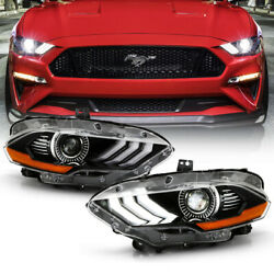 [led Model] Fit 2018-20 Ford Mustang Factory Style Headlights Front Lamp Housing