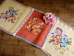 Vintage Hand Embroidered Irish Linen Lace Table Runner - Jacobean Embroidery