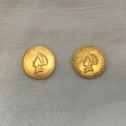 1855 1 Gold Indian Princess Coins Set Of Two