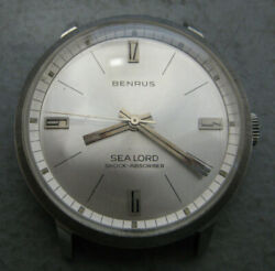 Vintage Mens Benrus Classic Sea Lord Art Deco Dial Watch