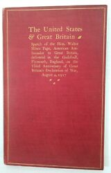 Printed Walter H Page Speech To Great Britain 8/4/1917 Wwi, Inscribed And Signed