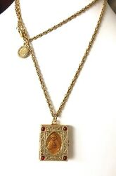 The Vatican Library Collection Gold Tone Bible Locket Chain Necklace
