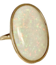 Fine Huge 10.75 Ct Opal Cabochon 14k Yellow Gold Ring Size 10 With Appraisal