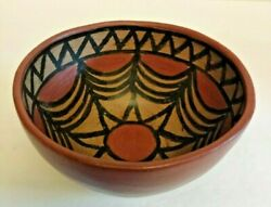 Vintage Southwestern Red Clay Pottery Bowl With Hand Painted Design Inside Bowl