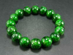 Fine Chrome Diopside Gem Bracelet From Russia - 7.5 - 13mm Round Beads