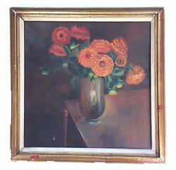 Antique 19th Century Still Life Flowers Oil Painting Canvas Signed J. De Beer