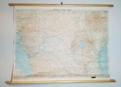 Antique 1960 Central And East Africa Wall Map Denoyer Geppert Britain Scotland