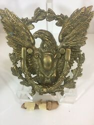 Vintage Brass Eagle Door Knocker Perched On Arrows And Wreath. Large And 3.6lbs.