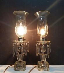 Vintage Antique Pair Etched Glass Hanging Crystal Prisms Hurricane Table Lamps
