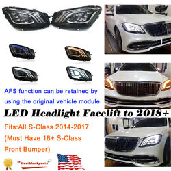 For 13-17 Mercedes S-class W222 Headlights Afs Upgrade 2018+ Multibeam Led L+r