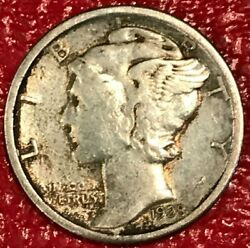 A Vintage High Grade Vf/xf 1928 P Mercury Silver Dime-old Us Coin-jan035