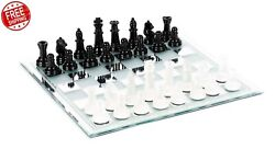 Glass Chess Set Board And Pieces Game Traditional Elegant Black White King 3