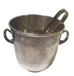 """Vintage Leonard Silver Plated Epns Champagne Wine Ice Bucket With Tongs 5 1/4"""""""