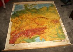 Antique Publishing House Schul Buch 1937 Ww2 3rd Reich Germany Wall Mount Map