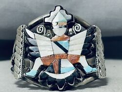 One Of The Best Ever Vintage Navajo Kachina Turquoise Sterling Silver Bracelet