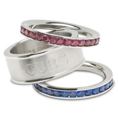 Nwt Mlb Chicago Cubs Stainless Steel Stackable Crystals Rings Set Sz 6