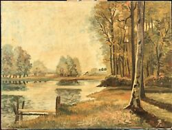 And039lakeside Sceneand039 An Unframed Oil Painting By Cynthia Paulton