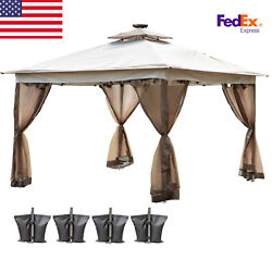 Patio Gazebo Canopy 11and039x11and039 Pop Up Tent Mesh Mosquito Net Steel Fabric Outdoor