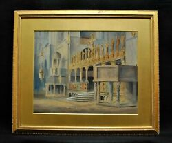 Large 19th Century Eastern Cathedral Interior Antique Watercolour Painting