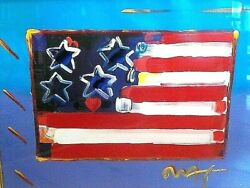 Peter Max Mixed Media Painting Flag With Heart Coa 18 X 24