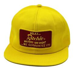 Vtg Ritchie Waters 'em Right Patch Snapback Hat Mesh Farm Cap Kbrand Made In Usa
